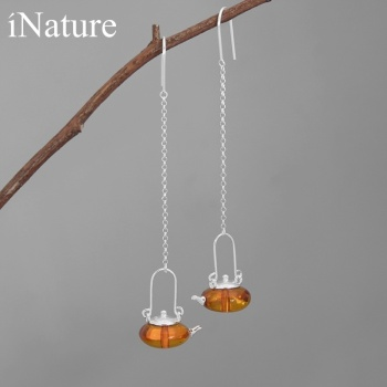INATURE Natural Amber Teapot Drop Earrings 925 Sterling Silver Fine Jewelry