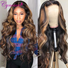 Human-Hair Wigs Highlight Lace-Frontal Body-Wave Cynosure Black Women 13x4 Peruvian