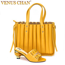 Bag Shoes Match-Set High-Heels Italian-Design Yellow-Color Summer Party Nigerian And