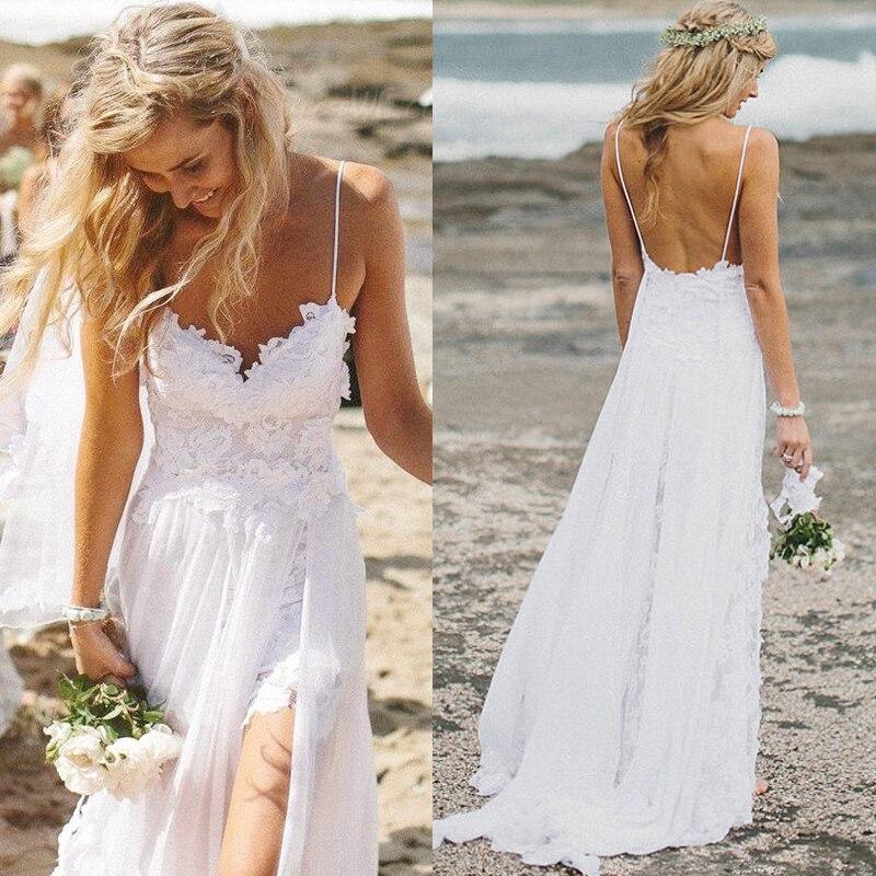 Vestido De Noiva Sweetheart Sexy Backless Beach Wedding Dress White Lace Chiffon Cheap 2015 Appliques Vintage Bridal Gowns