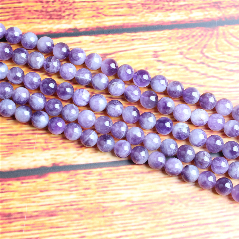 Dream Amethyst Natural Stone Bead Round Loose Spaced Beads 15 Inch Strand 4/6/8 / 10mm For Jewelry Making DIY Bracelet Necklace