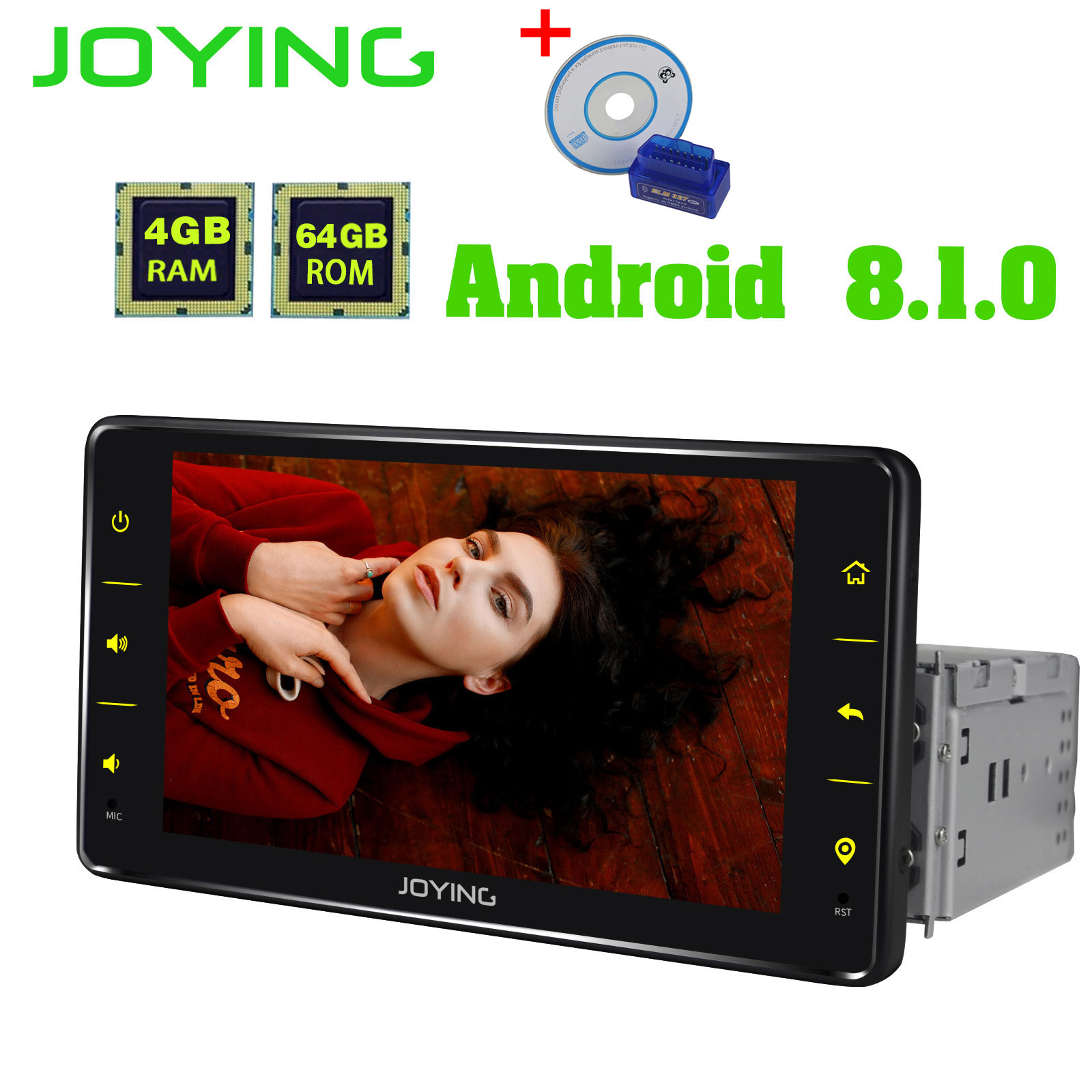 JOYING GPS stereo Android 8.1 Auto Radio 4GB + 64GB BT DSP Octa Core 1DIN 6,2