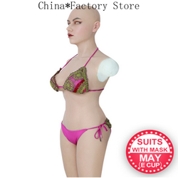 E Cup Silicone Breast Forms Whole Body Suits with Arms Fake Boobs May Mask Body Suits for Crossdresser Shemale