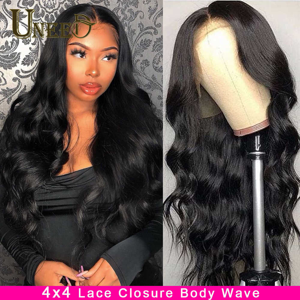 Brazilian Body Wave 4*4 Lace Closure Wig Body Wave Lace Front Human Hair Wigs Remy Hair Wig With Baby Hair Natural Hairline
