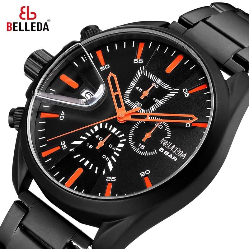 BELLEDA Luxury Brand Mens Military Sports Male Analog Black Quartz Chronograph Watch Men Watches Casual Leather WristWatches