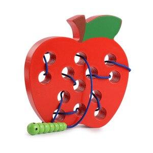 Насекомые едят фрукты гусеницы веревка деревянные игрушки улучшают способность ребенка манипулировать мозгом и координацию рук и глаз для...