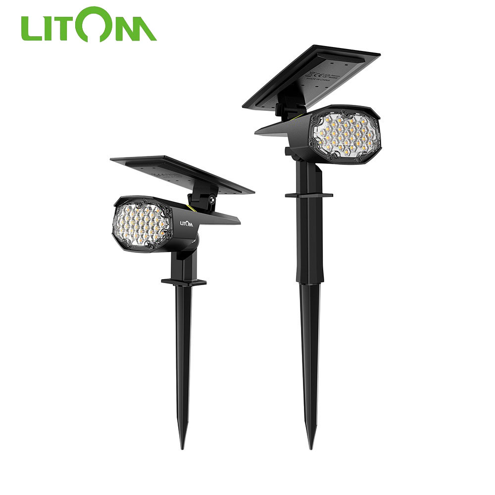 2 PCS Litom Solar Light Landscape Spotlights Outdoor Solar Wall Light Cold Warm Light Adjustable IPX7 Waterproof For Garden Yard