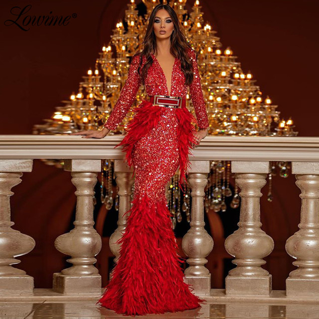 Feather Evening Gown Formal Dress Vestido Festa Longo 2020 V Neck Mermaid Red Beaded Party Dress Full Sleeves Long Prom Dresses
