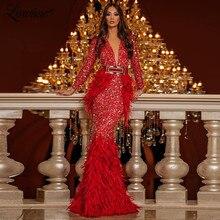 נוצת ערב שמלת לבוש הרשמי Vestido Festa לונגו 2020 V צוואר בת ים אדום חרוזים המפלגה שמלת מלא שרוולים ארוך שמלות נשף
