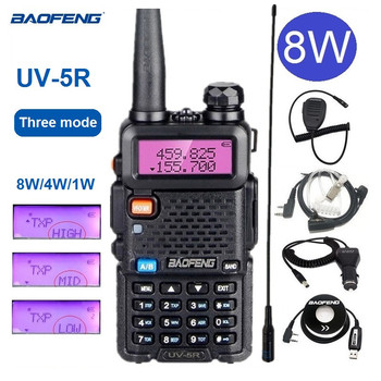 Real 8W Baofeng UV-5R Walkie Talkie Dual Band Ham CB Radio Stations UV5R Portable Transceiver Two Way Transmitter - discount item  22% OFF Walkie Talkie