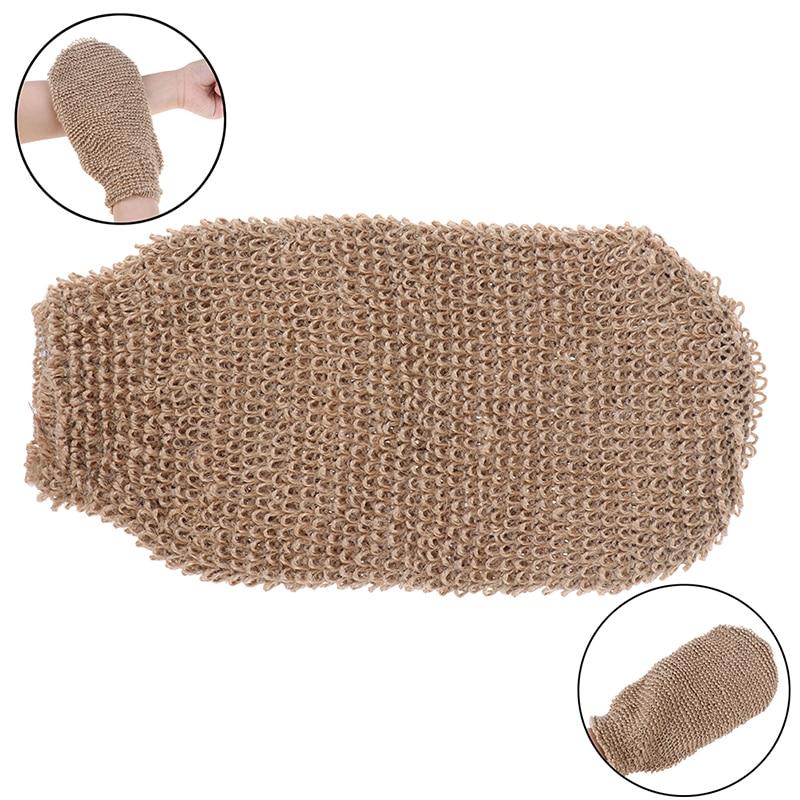 1Pcs Fibre Bath Gloves Exfoliating Skin Wash Foam Towel Massage Back Shower Scrubber Hemp Body Cleaning Towel Sponges