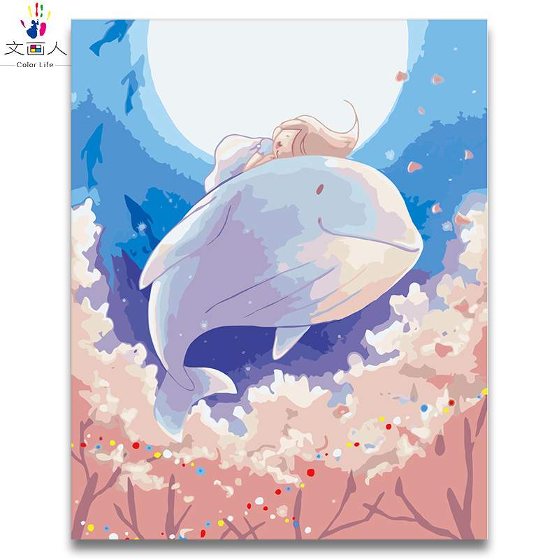 Cartoon Anime Digital Paint By Numbers Whale And Girl Oil Painting By Numbers Ocean Whale Cute Animal Children's Room Decoration