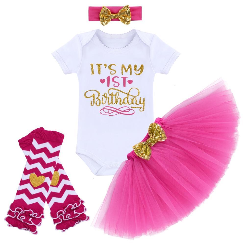Voberry Baby Girl Its My 1st Birthday 3Pcs Outfits Skirt Set Romper+Tutu Dress+Headband Cake Smash Crown Bodysuit