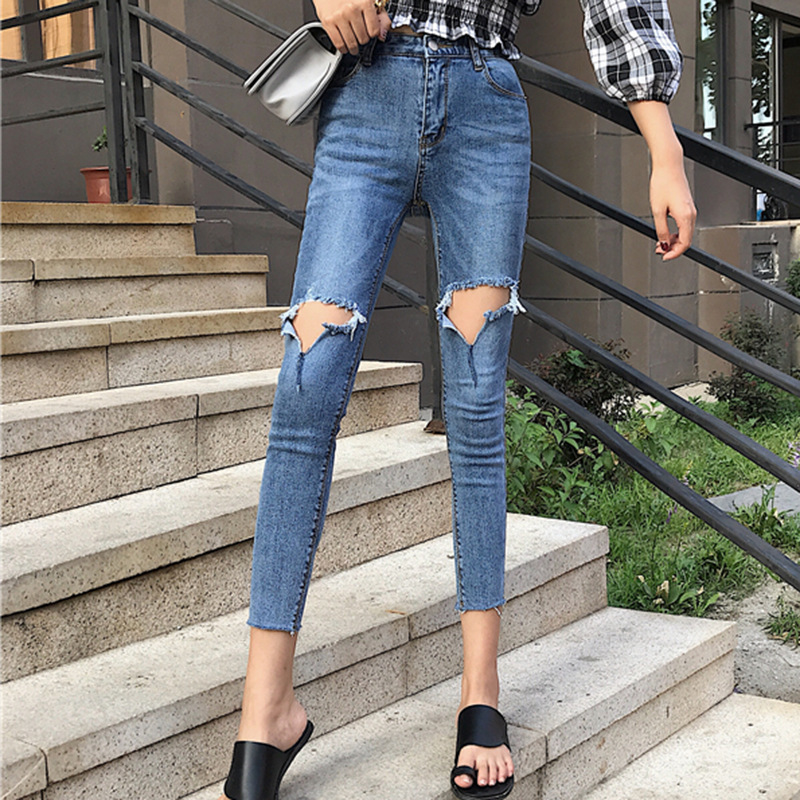 Flash With Holes Jeans Women's Korean-style Slim Fit High-waist Ankle-length Pencil Pants 2019 Autumn Clothing New Style Skinny