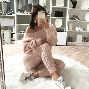 Sfit Spring Cotton Tracksuit Women 2 Piece Set O-Neck Sweater Top+Elastic Waist Pant Knitted Suit Women Coat 2 Piece Set