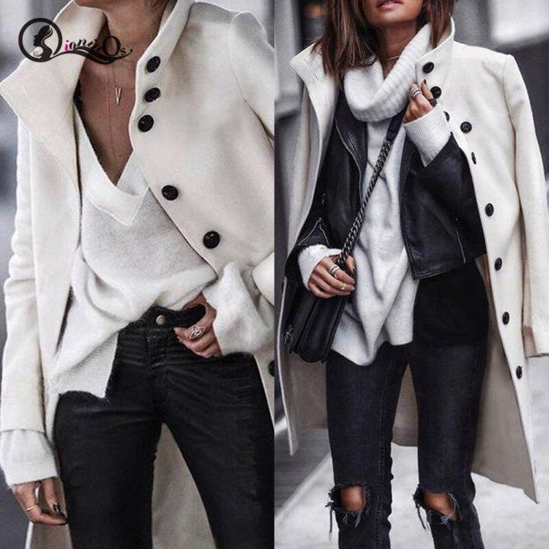 Женское пальто, Осень-зима, свободные одноцветные куртки с лацканами, повседневное, с длинным рукавом, на пуговицах, теплое кашемировое шерс...