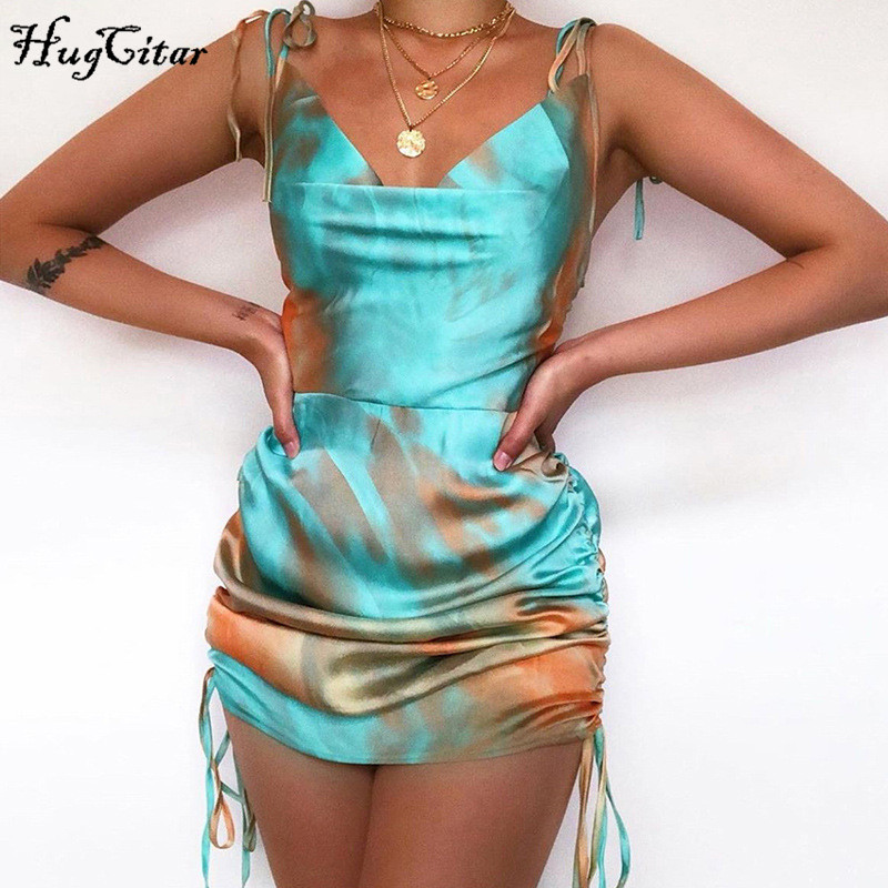 Hugcitar 2020 tie dye sleeveless bandage pleated sexy mini dress summer women fashion streetwear outfits sundress