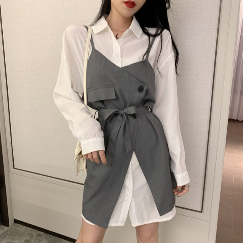 Neploe Women Two Pieces Suits Belt Slim Sling Dress + Long Sleeve Elegant Blouse Dresses 2020 Spring Fashion Korean Sets 4A118 1