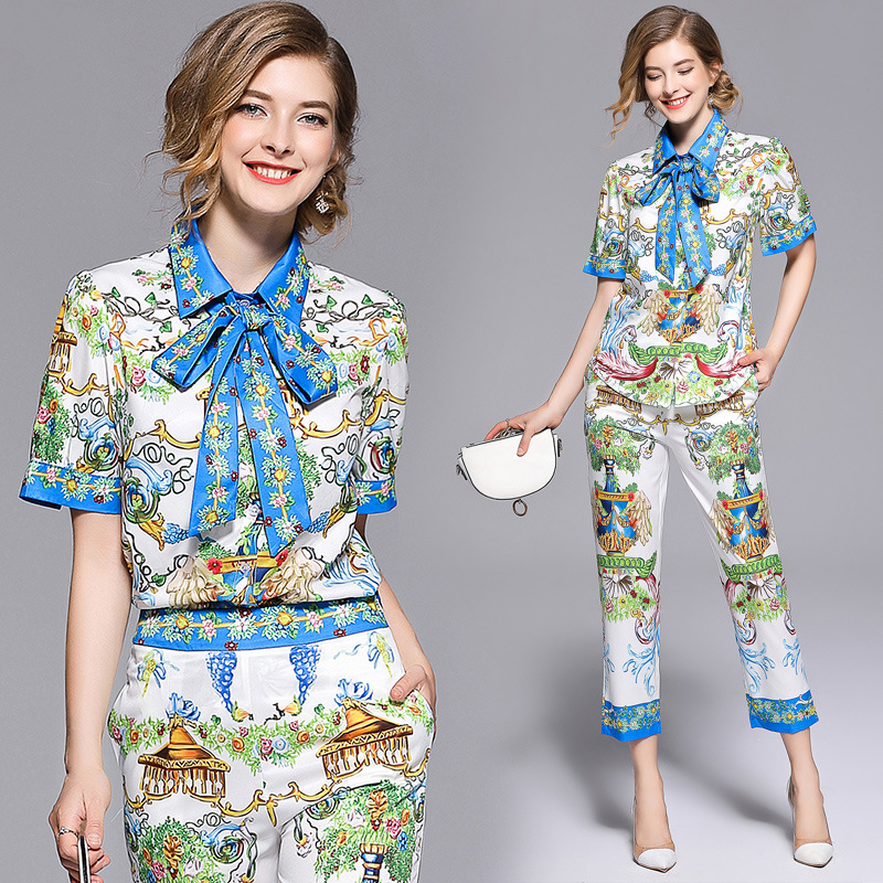 New Style Europe And America WOMEN'S Rollneck Short-sleeve Shirt Shirt + Capri Skinny Pants Printed Set