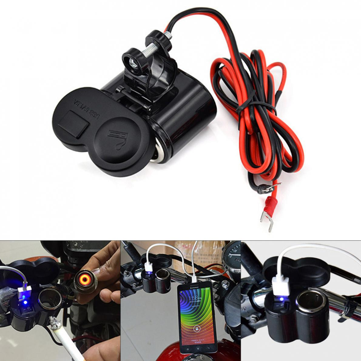Motorcycle Charger Waterproof Multi-function Motorcycle Cigarette Lighter Socket USB Charger Speed Charge With Switch
