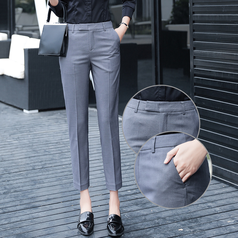 Spring And Autumn Suit Pants Thick Korean-style Slim Fit Formal Wear Business Versatile Straight-Cut Smoke Tube Casual Capri Pan