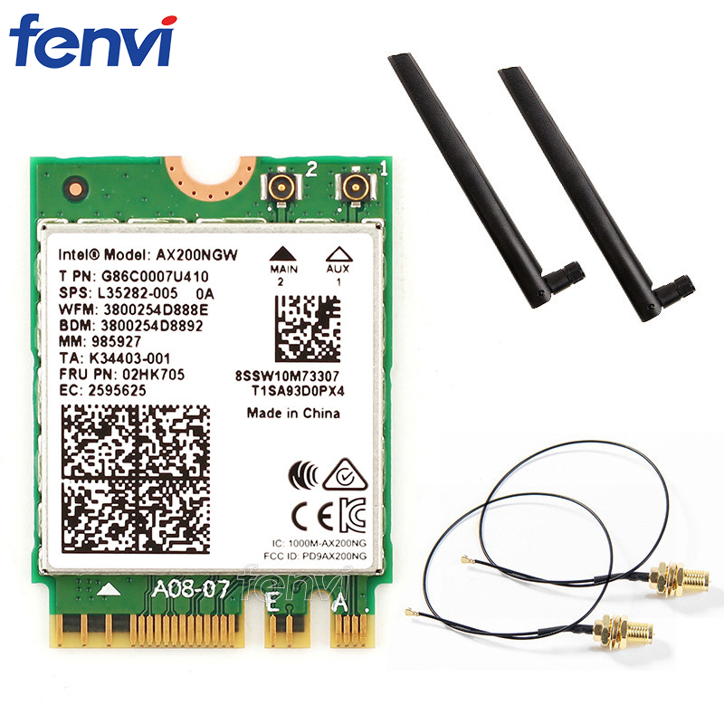 Dual Band Wifi 6  Wireless 2400Mbps AX200NGW NGFF M.2 Wlan Bluetooth 5.0 Wifi Card 802.11ac/ax For Intel AX 200 With Antennas