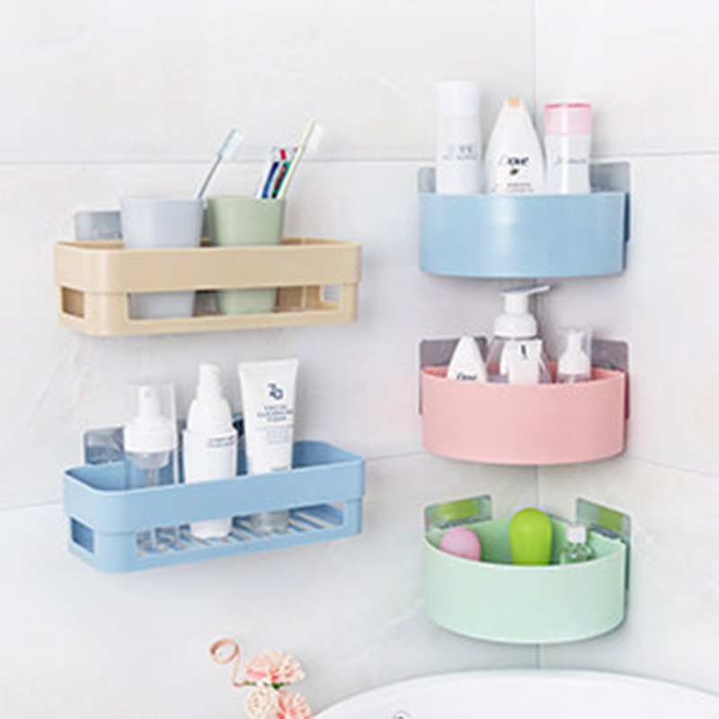 Bathroom Shelf Bathroom Adhesive Storage Rack Kitchen Home Decoration Corner Shower Shelf Rack Storage Rack Hanging Accessories