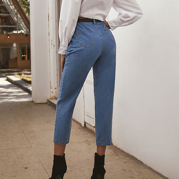 European and American Explosive Jeans Fall Womens Fashion Pure Color All-match High Waist Ankle Pants