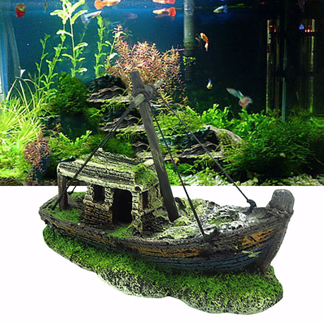 2019 Hot Aquarium Fish Tank Landscape Pirate Ship Wreck Ship Decor Resin Boat Ornament Aquarium Accessories Decoration #Y5 1