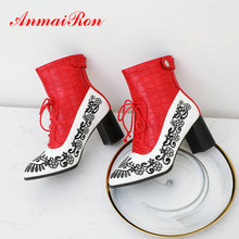 ANMAIRON  Winter Women Shoes Lace-Up PU Square Heel Ankle Boots Mixed Colors Fashion Pointed Toe Thigh High BootsSize 34-43