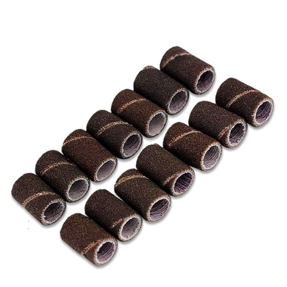 50 pzas/unids/lote cabezales cilíndricos montados mangas abrasivas bandas de lijado 80 #120 #180 # para manicura de uñas herramientas