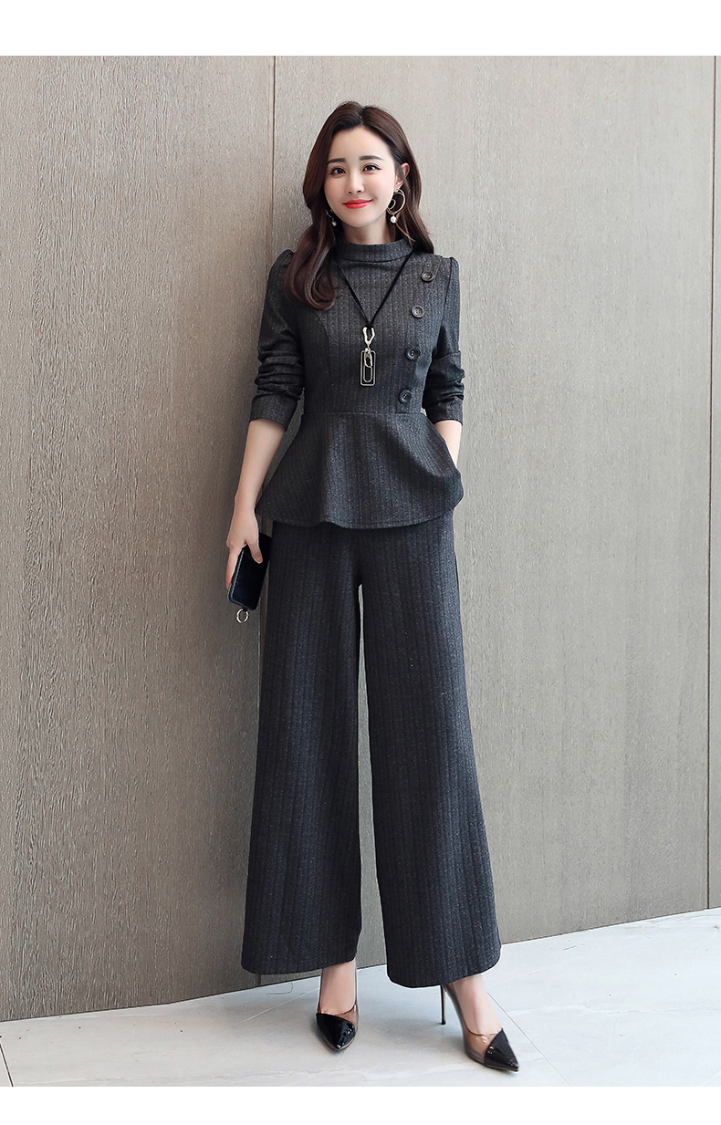 Black Grey Office Two Piece Sets Outfits Women Plus Size Buttons Tops And Wide Leg Pants Suits Elegant Fashion Ladies Suits 2019 44