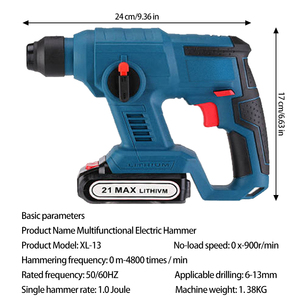 Image 2 - 21V Electric Hammer Cordless Lithium Ion Hammer Drill Electric Perforator impact hammer with LED light