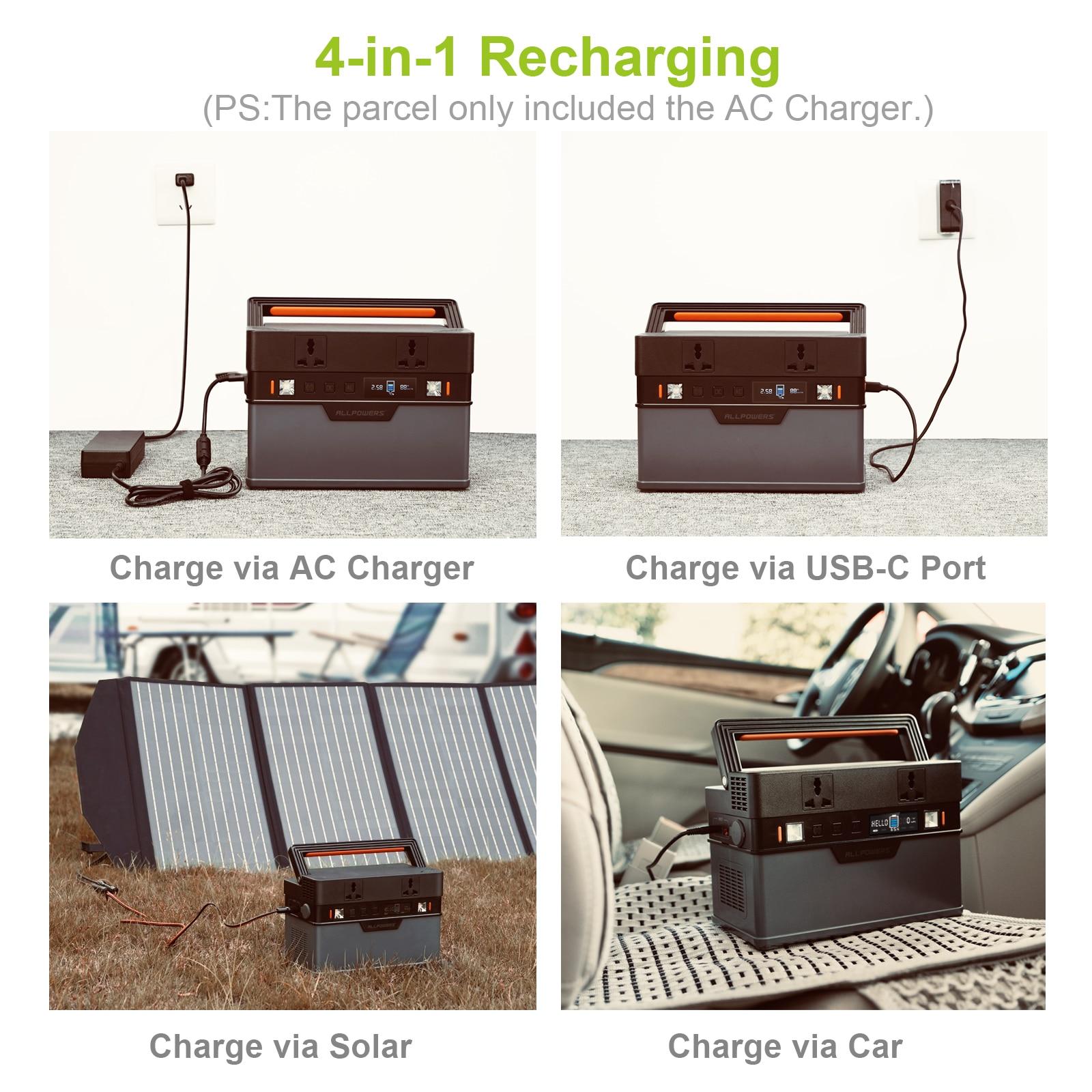 Allpowers Solar Generator, 110V/220V Portable Power Station, mobiele Emergency Backup Power Met 18V Opvouwbare Solar Panel Charger 2