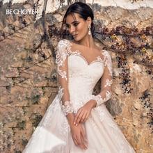 Vestido de Noiva Sweetheart Long Sleeve Wedding Dress Fashion Appliques A Line Court Train Princess Bride Gown BECHOYER K182