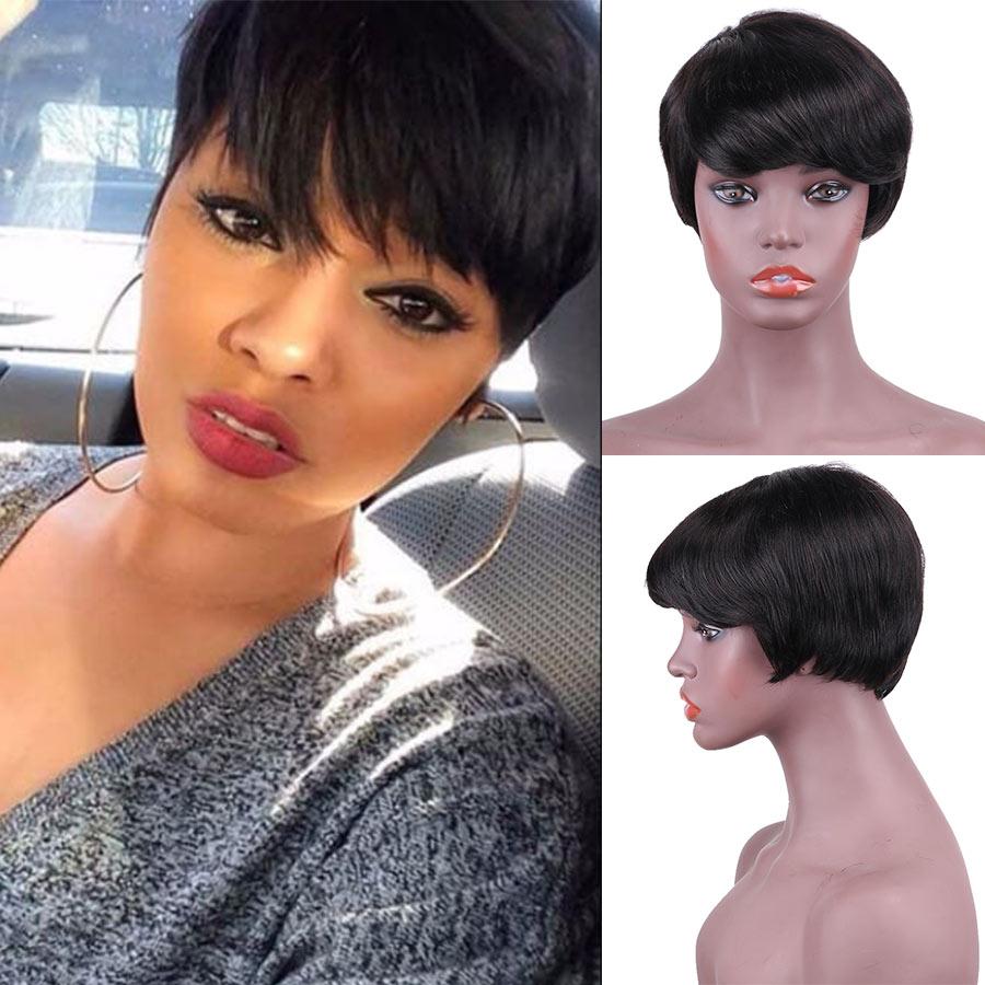 Fashion Lady Short Human Hair Wigs 9051 For Black Women Pretty Mushroom Hair Wigs With Bang