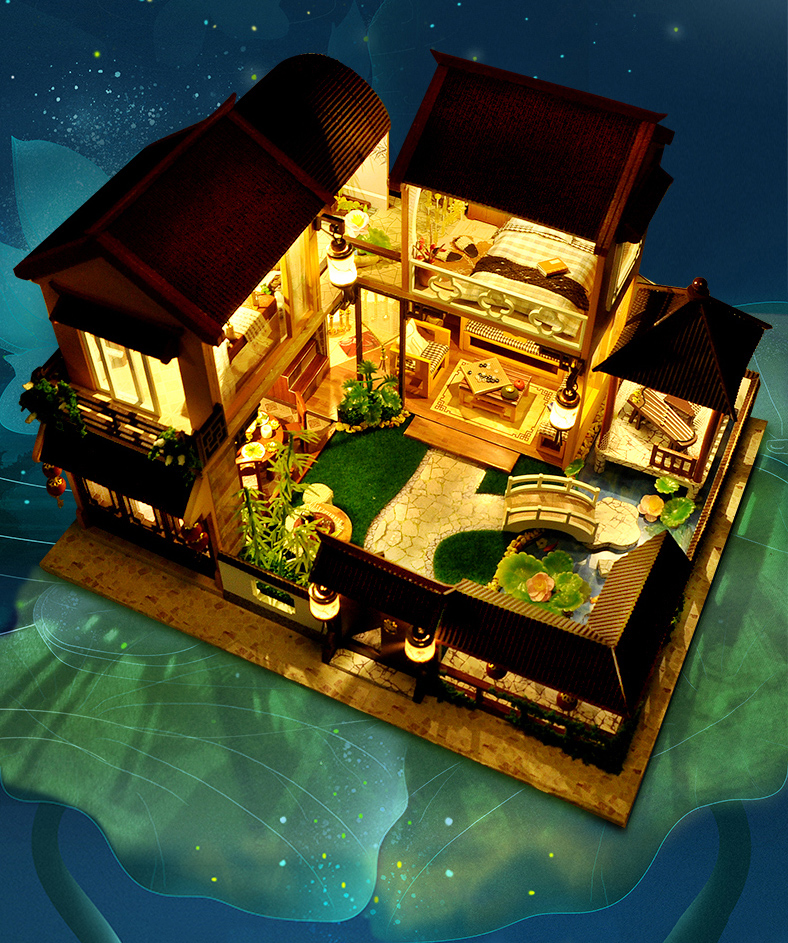 Asian Dollhouse Manor DIY 3D Miniature Kit