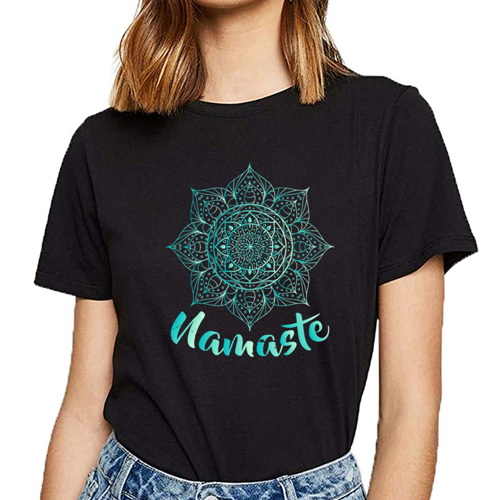 Tops T Shirt Women namaste lotus flower spiritual <font><b>om</b></font> O-Neck Vintage Print Female <font><b>Tshirt</b></font> image