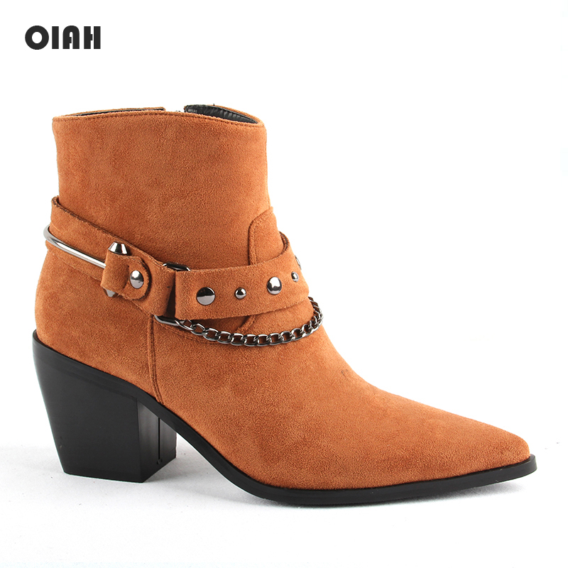2020 New Boots Women Pointed Toe Mid Heel Ankle Boots Thick Square Heel Slip On Western Boots Cowboy Boots Women Microfiber