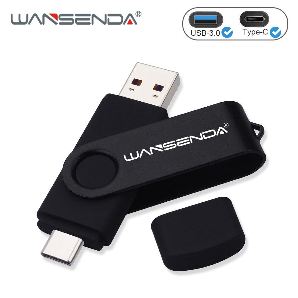 WANSENDA USB Flash Drive 2 IN 1 USB3.0 & Type C OTG Pen Drive 32GB 64GB 128GB 256GB 512GB High Speed USB Stick Pendrives