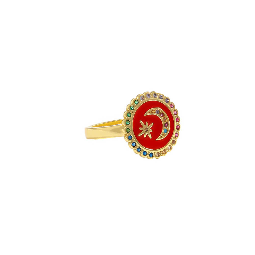 Yhpup 3 สีเคลือบอินเทรนด์ VINTAGE Star Moon ผู้หญิงแหวนหรูหรา Zirconia เปิดแหวนผู้หญิงเครื่องประดับของขวัญ 2019