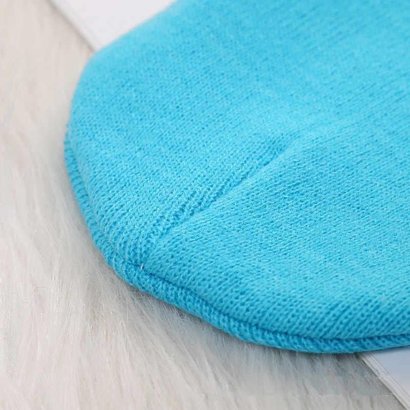 ฤดูใบไม้ร่วงฤดูหนาวเด็กชายหญิงถักหมวกลูกอมสีทึบหมวกปรับ Casual เก็บหมวกอุ่นสำหรับเด็ก 2-4 ปี