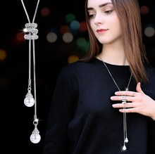 LWMMD Simulated Pearl Crystal Long Sweater Chain Necklace Vintage Accessary Collares Mujer Statement