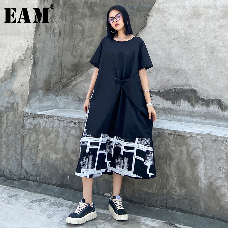 [EAM] Women Black Pattern Printed Big Size Dress New Round Neck Short Sleeve Loose Fit Fashion Tide Spring Summer 2020 1X688