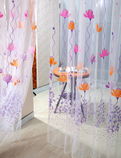 1 Panel Fabric Colorful Lotus Sheer Curtain High Quality Tulle Window Treatment Voile Curtain Drape Valance For Living room 6