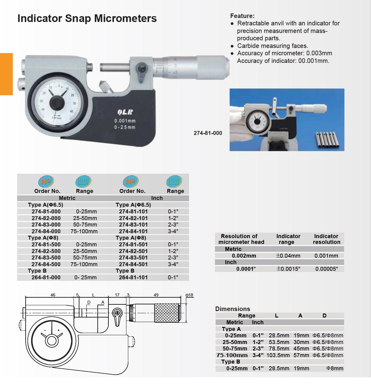 Medição precisa do micrômetro 0-25-50-75-100mm da pressão