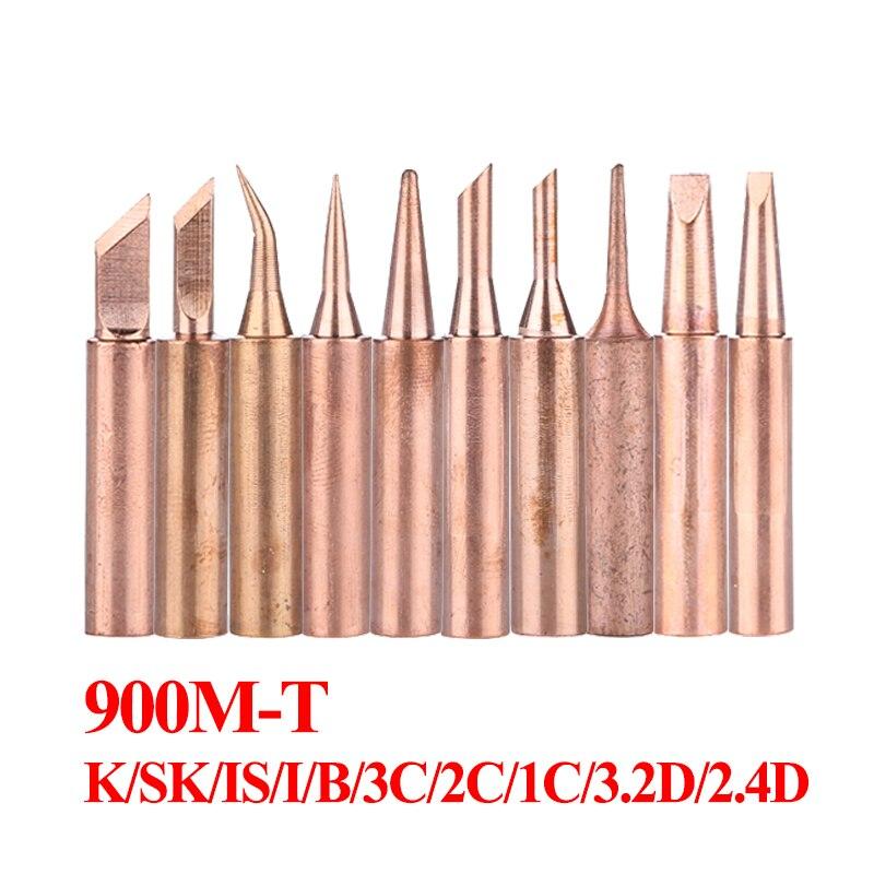 10Pcs/lot Pure Copper Solder Iron Tip Soldering Bit For 936 Soldering Station