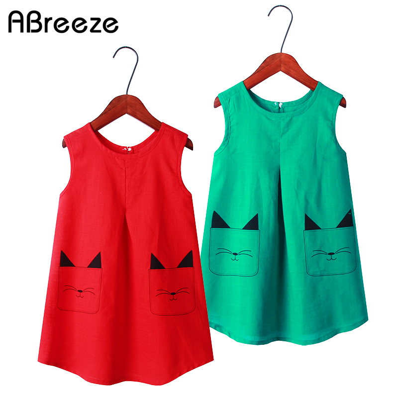 2020 Summer Girls Dresses Cotton Vest Dresses Girls 2-11Y Cat Print Style Color Green Red Dresses For Kids Girls