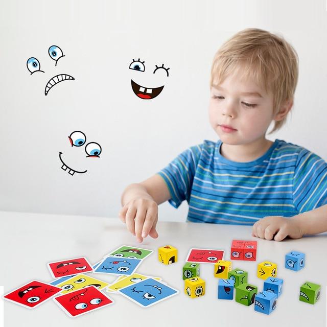 חדש מונטסורי ביטוי פאזל פנים שינוי קוביית אבני בניין צעצועי למידה מוקדמת חינוכי משחק צעצוע לילדים מתנה 3