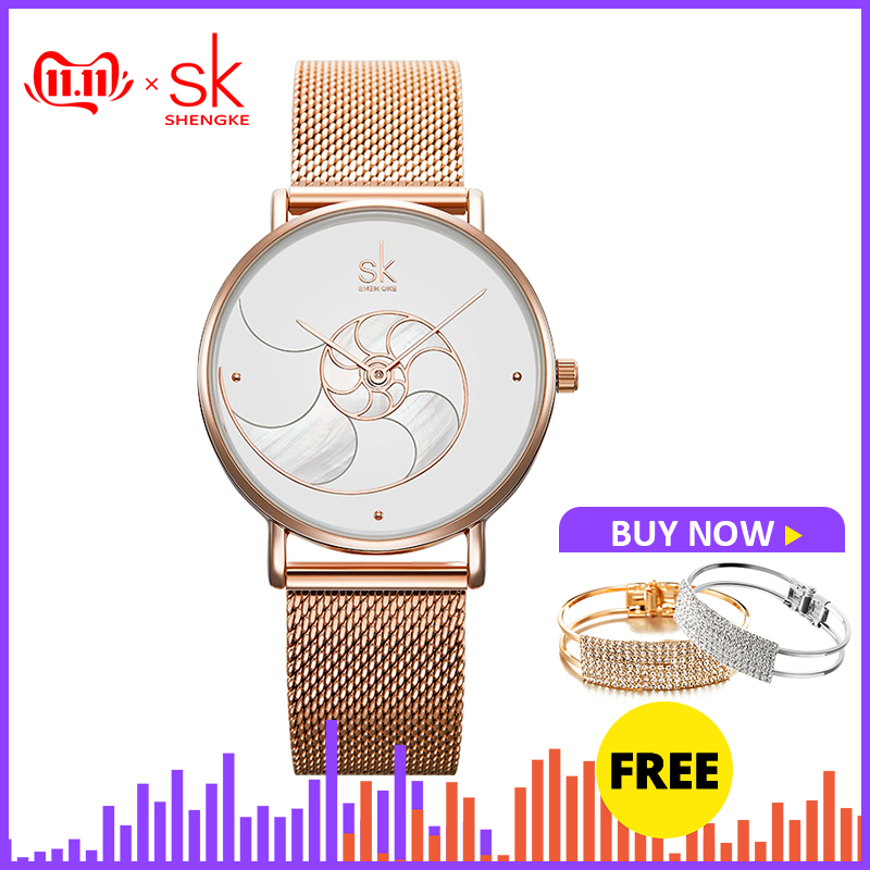 Shengke Women Fashion Quartz Watch Lady Mesh Watchband High Quality Casual Waterproof Wristwatch Gift For Wife 2019